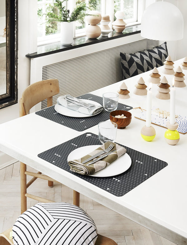 OYOY Living Design - OYOY LIVING Placemat Grey Line - 2 Pcs/Pack Placemat 204 Dark Grey