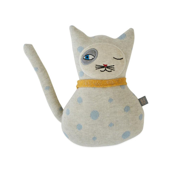 OYOY Living Design - OYOY MINI Darling Cushion - Baby Benny Cat Soft Toys 102 Offwhite / Pale Blue