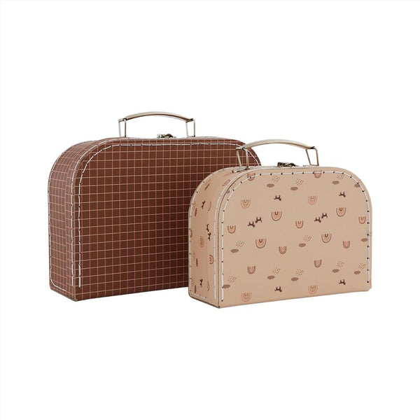 OYOY Living Design - OYOY MINI Suitcase Mini Rainbow & Grid - Set of 2 Storage 307 Caramel / Powder ?id=16169814491216