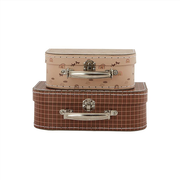 OYOY Living Design - OYOY MINI Suitcase Mini Rainbow & Grid - Set of 2 Storage 307 Caramel / Powder