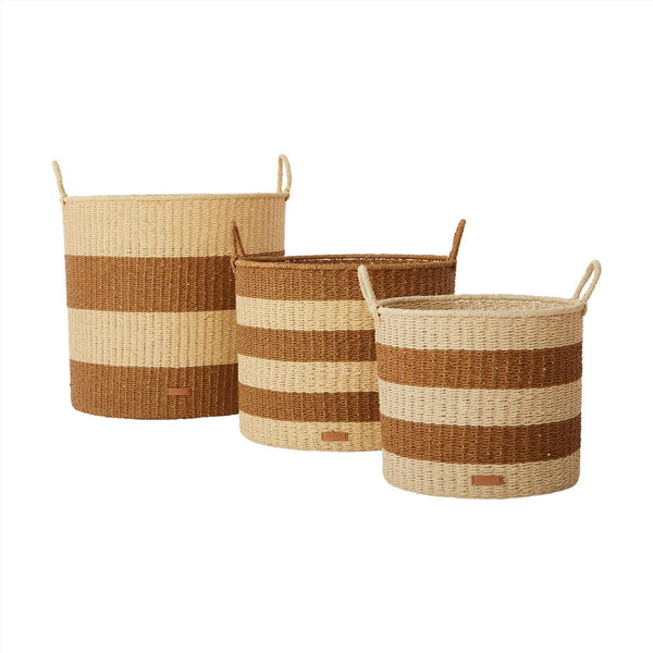 OYOY Living Design - OYOY LIVING Storage Baskets Cylinder, Set of 3 Storage 307 Caramel