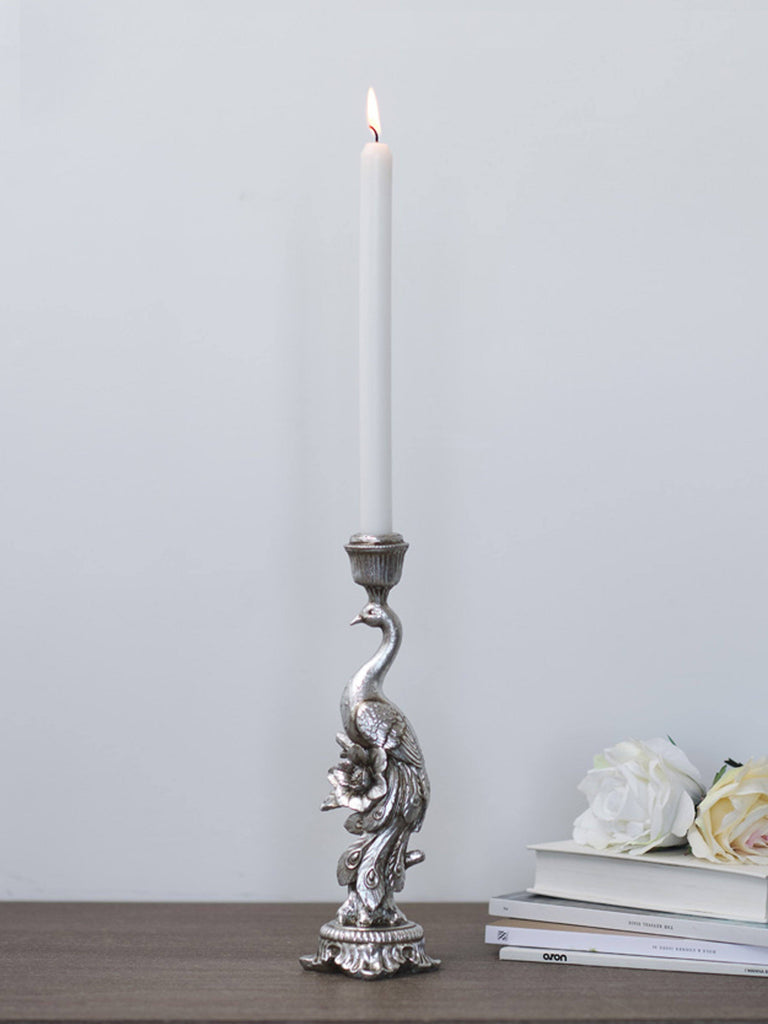 Silver Peacock Candlestick Candle Holder BRISSI