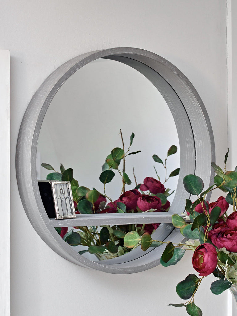 Luna Danish Grey Circular Mirror with Shelf MIRRORS BRISSI