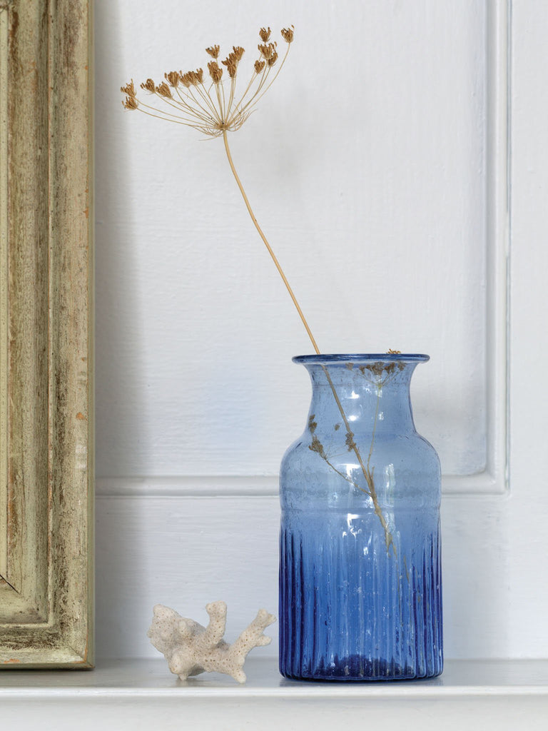 Pamplona Ribbed Vase Blue BRISSI