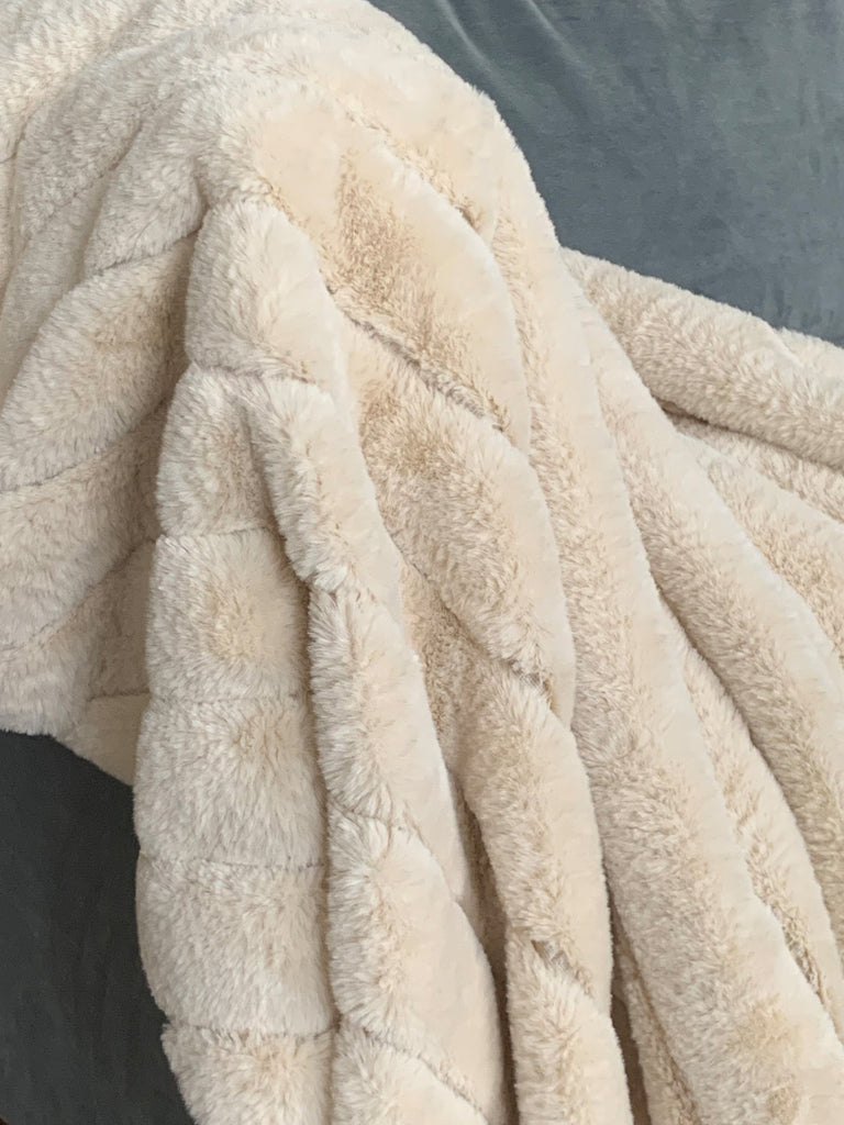 Luxe Beige Faux Rabbit Fur Throw Cushions & Throws BRISSI