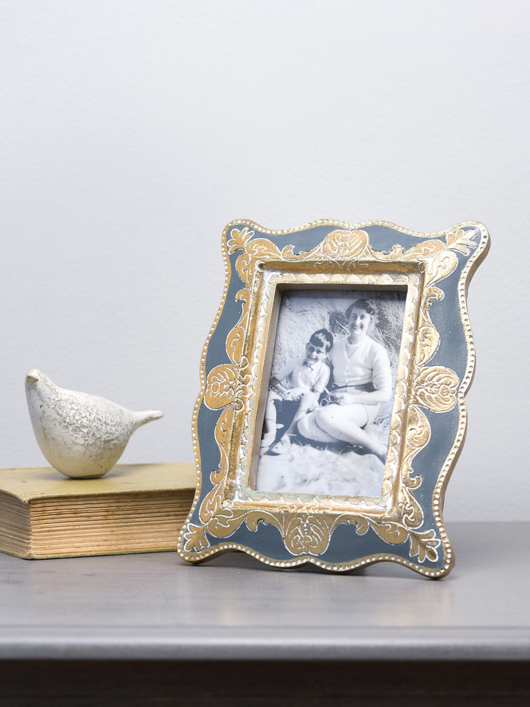 Anaya Grey & Gold Photo Frame - 4x6 inches Picture Frames BRISSI