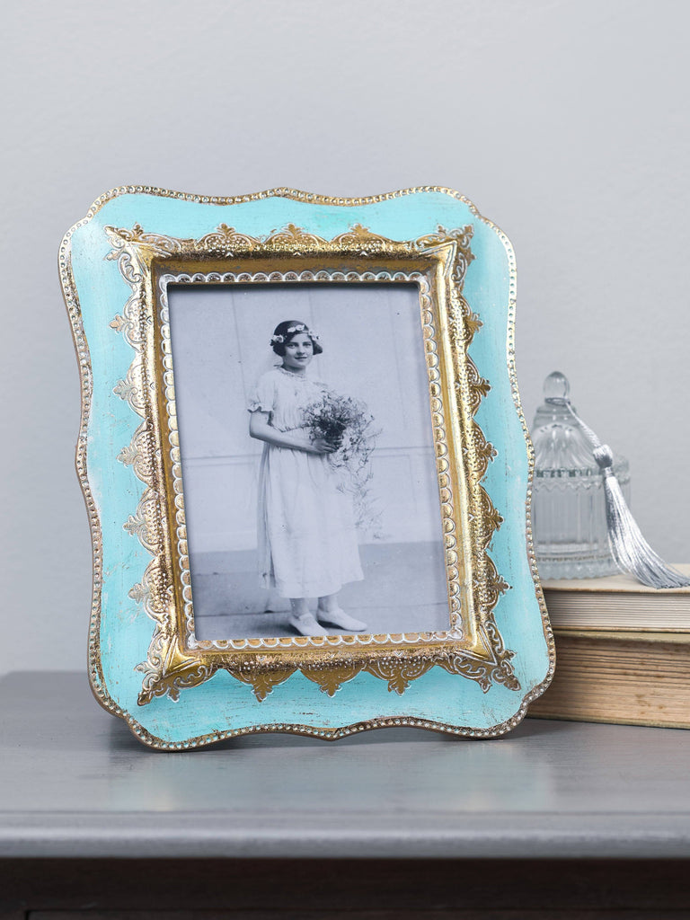 Puja Aqua & Gold Photo Frame - 4x6 inches Picture Frames BRISSI