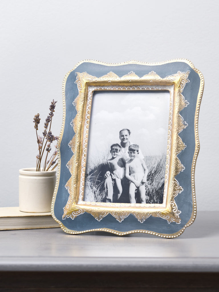 Puja Grey & Gold Photo Frame - 5x7 inches Picture Frames BRISSI