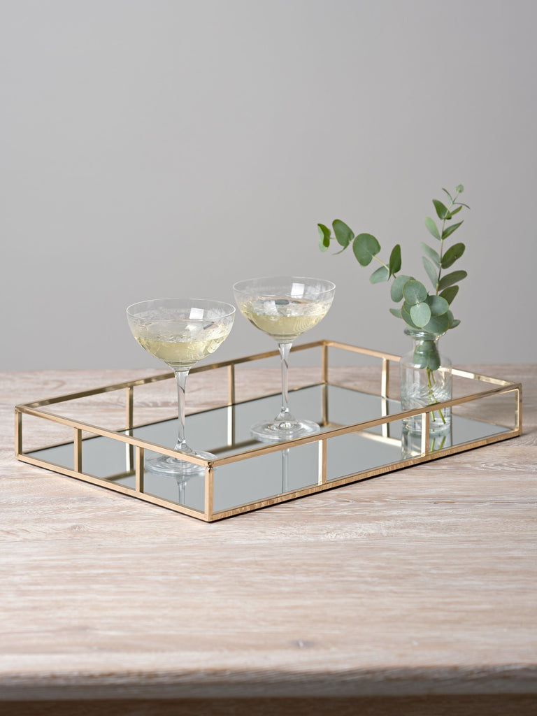 Evelyn Rectangular Gold Mirror Tray Trays BRISSI