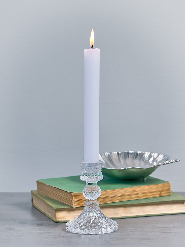 Harper Clear Pressed Glass Candlestick Candle Holder BRISSI