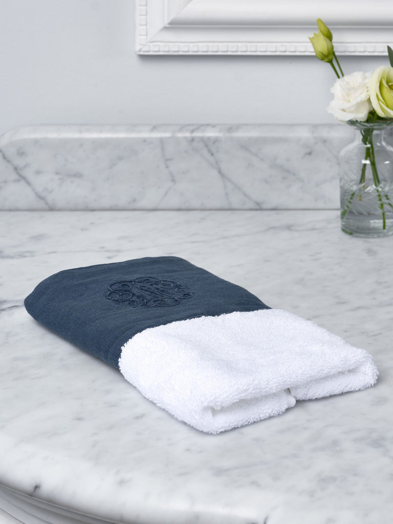Navy Monogram Border Towel Towels BRISSI