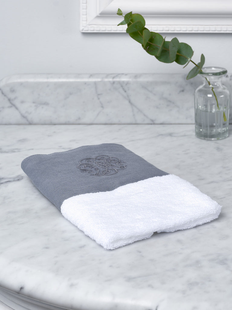 Grey Monogram Border Towel Towels BRISSI