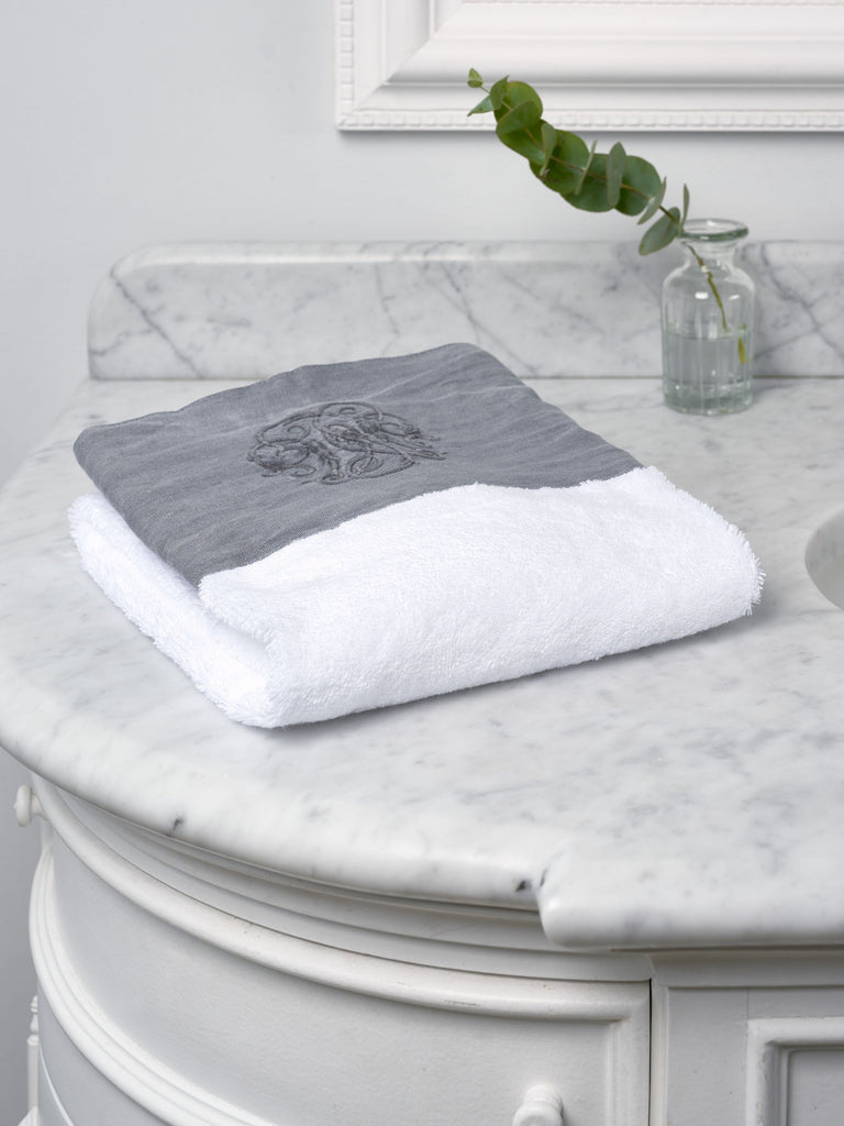 Grey Monogram Border Hand Towel Towels BRISSI