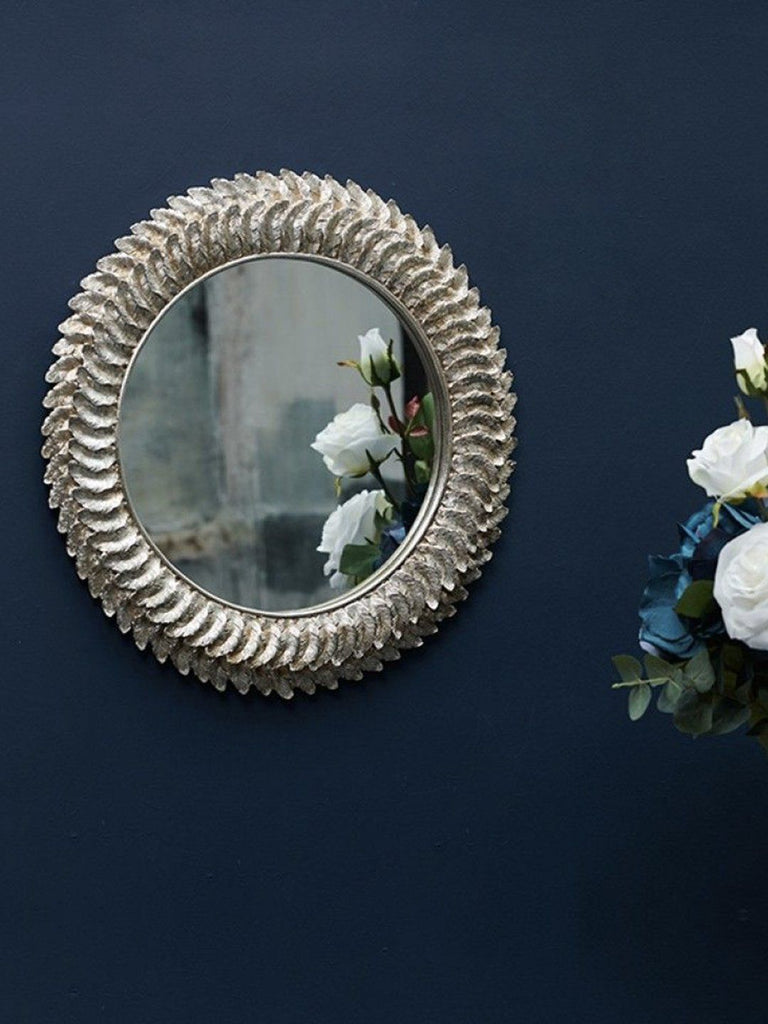 Golden Feather Round Wall Mirror Mirrors BRISSI