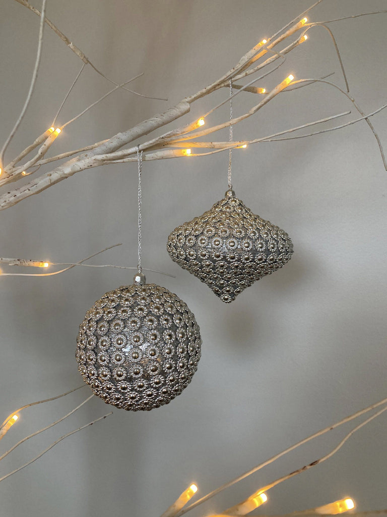 Flower Beaded Baubles Duo Silver Set of 2 TREE DECORATIONS BRISSI