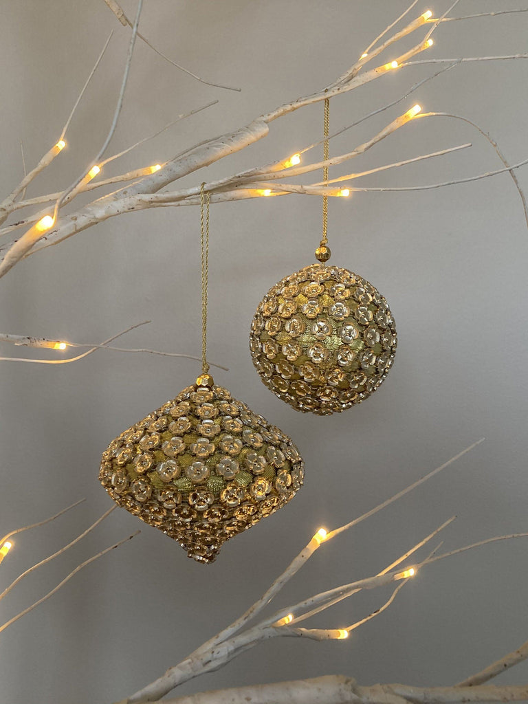 Flower Beaded Baubles Duo Gold Set of 2 TREE DECORATIONS BRISSI