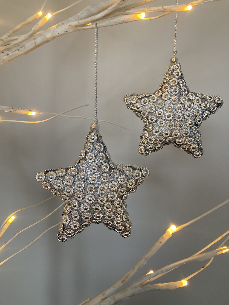Flower Beaded Star Decorations Silver Set of 2 TREE DECORATIONS BRISSI