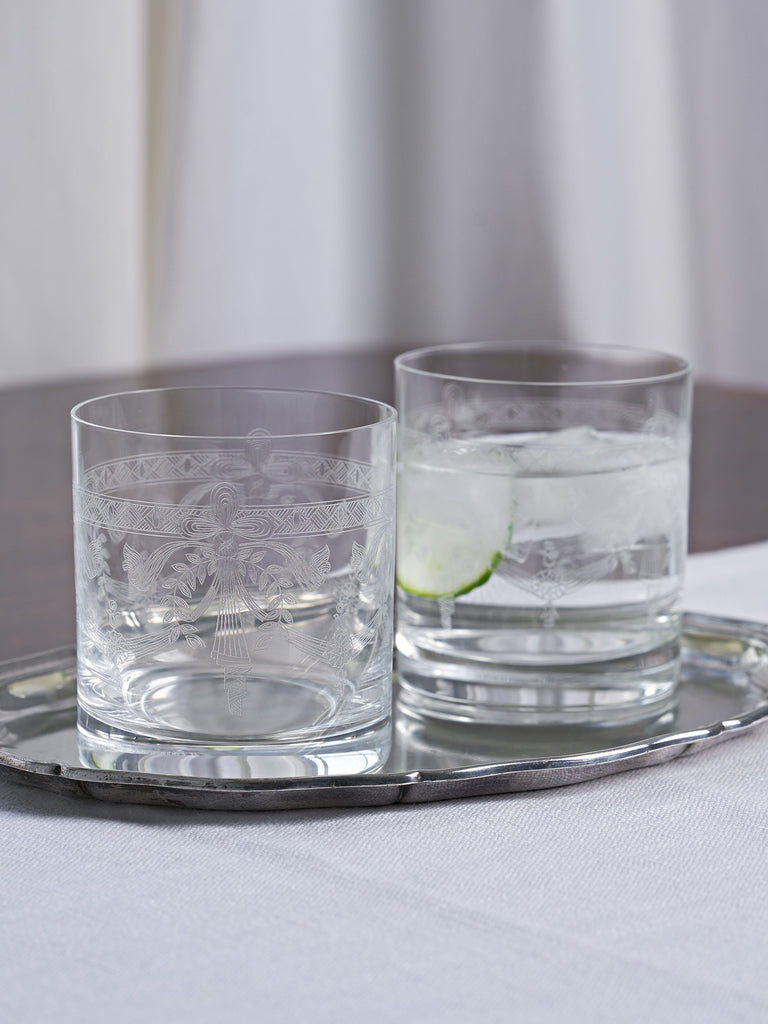Victoria Engraved Crystal Tumbler - Set of 2 Glassware BRISSI