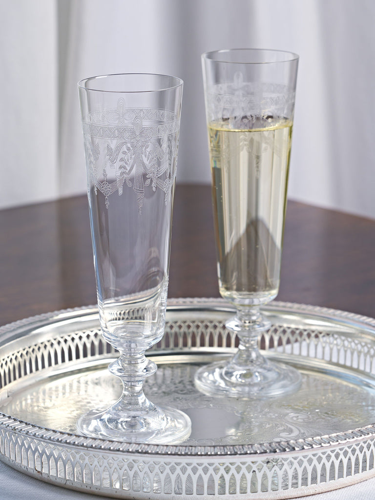 Victoria Engraved Crystal Flute - Set of 4 Glassware BRISSI