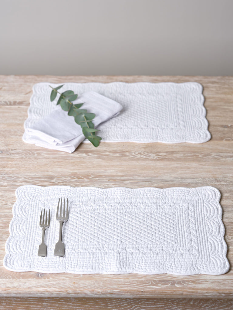 White Stonewashed Quilted Cotton Placemat Napkins & Placemats BRISSI