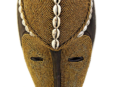 Bamileke Mask - Medium Mask with Beads And Cowrie Shells - Gold