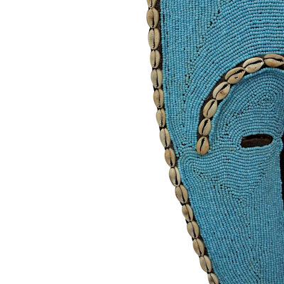 Bamileke Mask -Medium Mask with Beads And Cowrie Shells - Light Blue