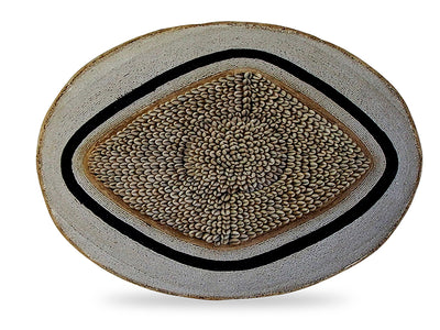 Large Beaded Shield - White With Black And Cowrie Diamond