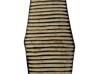 Oblong Wooden Shield - Carved Stripes