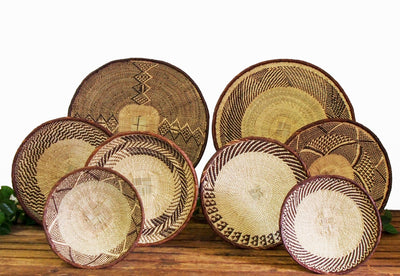 African Woven Wall Basket Set 2- 8 Piece