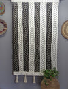 Chevron Black and White Mudcloth Wall Hanging with tassels