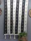 Striped Black and White Mudcloth Wall Hanging with tassels