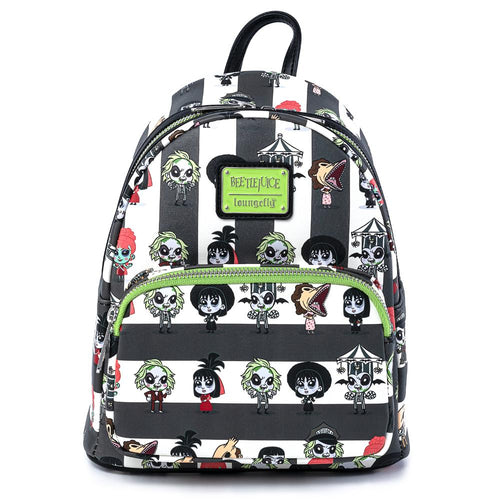 Loungefly Beetlejuice Chibi All Over Print Backpack Front View