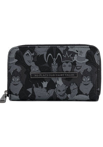 Loungefly Disney Villains Debossed All Over Print Zip Around Wallet Front View