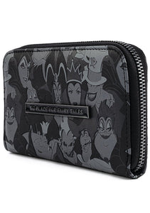 Loungefly Disney Villains Debossed All Over Print Zip Around Wallet Side View No Place for Fairy Tales