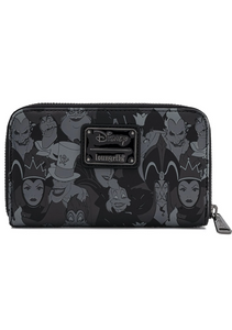 Loungefly Disney Villains Debossed All Over Print Zip Around Wallet Rear View