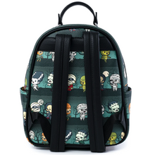 Load image into Gallery viewer, Loungefly Universal Monsters Chibi AOP Mini Backpack Rear View