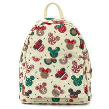 Load image into Gallery viewer, Loungefly Disney Christmas Mickey and Minnie Cookie Backpack With Ears