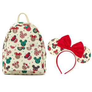 Loungefly Disney Christmas Mickey and Minnie Cookie Backpack With Ears