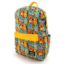 Load image into Gallery viewer, Loungefly Pokemon Starters AOP Nylon Backpack Side