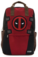 Load image into Gallery viewer, Loungefly Marvel Deadpool Cosplay Square Nylon Backpack Front