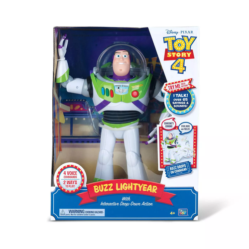 Disney Parks Pixar Toy Story 4 Buzz Lightyear with Interactive Drop-Down Action