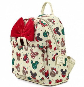 Loungefly Disney Christmas Mickey and Minnie Cookie Backpack With Ears side