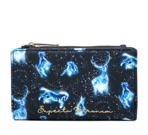 Loungefly Harry Potter Expecto Patronum All Over Print Flap Wallet Front View