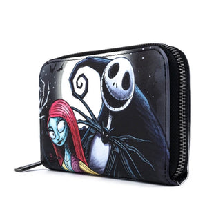 LOUNGEFLY X DISNEY THE NIGHTMARE BEFORE CHRISTMAS JACK AND SALLY SIMPLY MEANT TO BE ZIP AROUND WALLET Side View