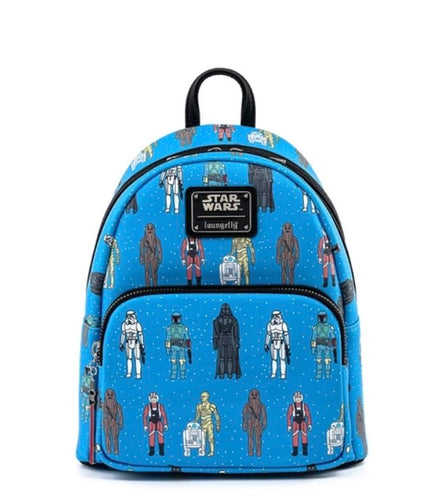 Loungefly Star Wars Action Figures All Over Print Mini Backpack front