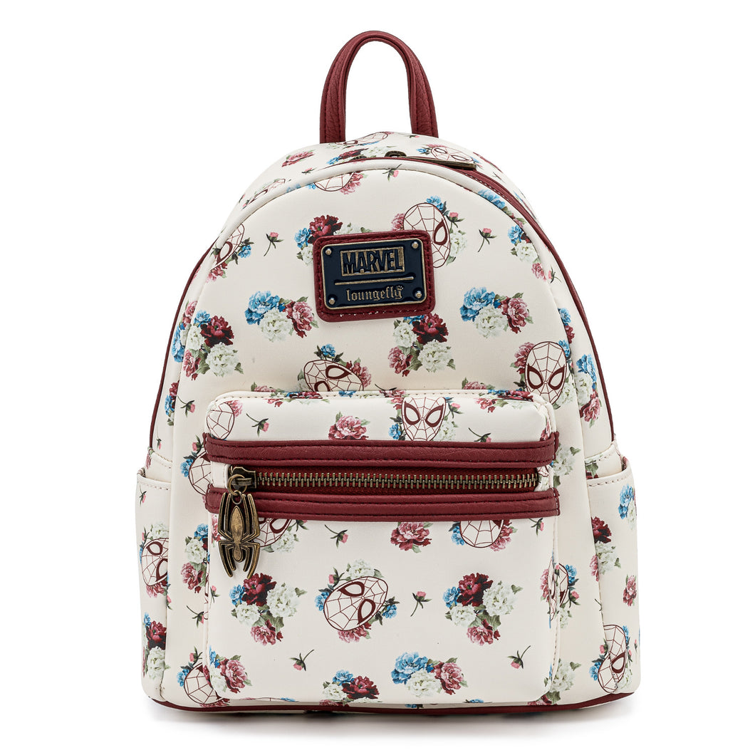 Loungefly Marvel Spiderman Floral Mini Backpack - Pre-Order April