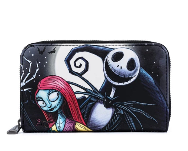 LOUNGEFLY X DISNEY THE NIGHTMARE BEFORE CHRISTMAS JACK AND SALLY SIMPLY MEANT TO BE ZIP AROUND WALLET Front View