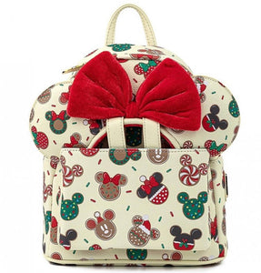 Loungefly Disney Christmas Mickey and Minnie Cookie Backpack With Ears front