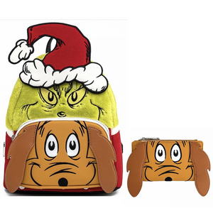 Loungefly Dr. Seuss Grinch and Max Mini Backpack and Wallet Bundle