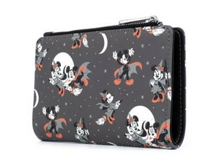 Loungefly Disney Mickey Minnie Halloween Vamp Witch AOP Bundle (Backpack and Wallet)